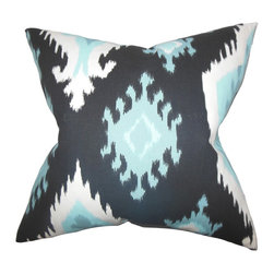 "The Pillow Collection - Djuna Ikat Pillow Blue 18"" x 18"" - Create a trendy look to your interiors with this dynamic accent pillow. Rendered in ikat style, the unique pattern lends a vibrant style to your living space. Try a variety of ikat pillows from our collection and pair it with this hypnotic throw pillow. Constructed with 100% high-quality cotton material. Made in the USA."