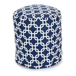 Majestic Home - Outdoor Navy Blue Links Small Pouf - A little pouf can go a long way in your home, serving in a pinch as a footrest, stool or impromptu side table. This cute and casual beanbag pouf is designed to be adaptable to your life; it's soft and easy to move around wherever it's needed, and the cover can be removed for cleaning up spills and smudges. It has a fresh, modern print to add some color to your space, and it's even safe for outdoor use.