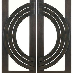 "AAW Inc. - Contemporary Entry Door Model NW-1639 - Model NW-1639 from our New World Collection. Door is solid Mahogany, 2-1/4"" thick with decorative iron work on the outside. Available with Clear or Matte Glass."