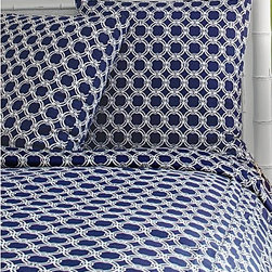 Lilly Pulitzer® Cha-Cha Chains Comforter Cover and Sham - This crisp blue and white bedding from Lilly Pulitzer is nautical and masculine. Shams and three sizes of duvet covers are available in this clever print.