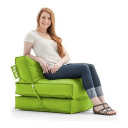 Big Joe Flip Bean Bag Lounger - Working double time, the Big Joe Flip Bean Bag Lounger converts from chair to lounger with a flip of a wrist. This unique chair is wrapped in durable SmartMax fabric in your choice of color. Taking your comfort seriously, it is filled with comfy ultimaX stuffing.About Comfort ResearchTen years ago Comfort Research created the Fuf chair, an innovative update on the classic bean bag chair made of patented Fuf foam. This special blend of foam never goes flat for long-lasting comfort. Based in Grand Rapids, Michigan, Comfort Research has recently developed several new lines of creative, inventive chairs. They have addressed the needs of eco-friendly consumers by creating incredibly comfortable green chairs; one style is made with buckwheat filling and organic cotton, the other uses recycled polystyrene filling and a special fabric made of recycled pop bottles. No matter which style or shape of chair you choose, you can be sure that your Comfort Research product will look great and stay comfortable for years to come.