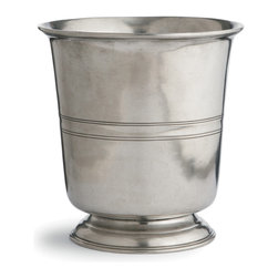 Roma Wastebasket - So elegantly well-turned you'll be tempted to turn it into an ice bucket or pile it with decorative fillers instead of its intended use, the Roma Waste Basket is an utterly refined, handcrafted piece of solid Italian pewter in a shape that declares an architectural understanding of home d�cor.  The smooth, straight sides of this subtly-adorned wastebasket glow with the natural hue of authentic pewter, while the turned-back lip is reflected in etched stringcourses strategically placed along the sides.