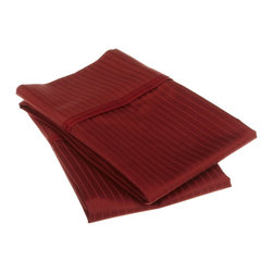 1000 Thread Count Egyptian Cotton King Burgundy Stripe Pillowcase Set - 1000 Thread Count Egyptian Cotton oversized King Burgundy Stripe Pillowcase Set