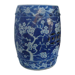 Golden Lotus - Blue & White Plum Flower Garden Stool Ottoman / Plant Stand - This elegant blue & white garden stool ottoman is made of porcelain and hand painted with plum flowers graphic on the top and around. It can also be a unique plant stand.