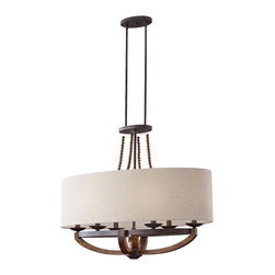 Murray Feiss - Murray Feiss F2751 6 Adan 6 Light Single Tier Chandelier - The artfully crafted rustic iron structure, combined with gently curved burnished wood arms make this chandelier the perfect choice for your home.