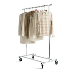Commercial Garment Rack - Use a lack of closet space to your advantage. If I had a large enough bedroom, I would line an entire wall with these commercial grade garment racks. That way, every morning when you pick out your clothes, it would feel like shopping. The industrial casters are my favorite part.