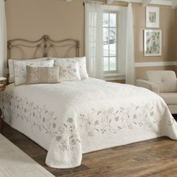 Nostalgia Home - Grace Bedspread - The Grace Bedspread brings beautiful, natural simplicity to your bedroom woven on luxurious cotton fabric. A quilted ivory center is accented by a taupe floral motif embroidered along the drop for a light, refreshing look.