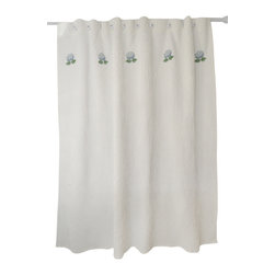 The Designs of Distinction - Shower Curtains, Blue Hydrangeas - These beautiful, waffle weave shower curtains are 80% Cotton 20% Poly. Reinforced button holes for hanging and lovely machine-embroidered motifs.