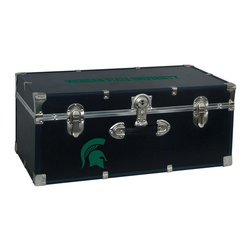 Seward Trunk - Michigan State Storage Trunk - Officially licensed. Front center key lock. One handle on the front. Paper lined to help protect interior contents. Screen printed logo. Heavy gauge vinyl. Nickel hardware and trim. Made from wood. Black finish. Made in USA. 30 in. L x 15.75 in. W x 12.25 in. H (18 lbs.)Storage you can show off!!!
