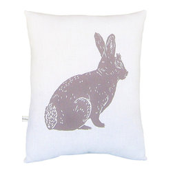 "artgoodies - Bunny Squillow Pillow - A cute accent pillow for your couch, chair, or bed!  An original hand carved block print has been hand printed on 100% cotton, sewn together with coordinating vintage fabric, and filled with poly-fil. Measures 10.5"" tall x 8.5"" wide."