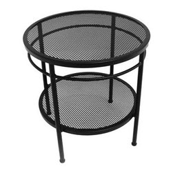"""Meadowcraft - Meadowcraft Cove 20 Two Tier End Table - Test the limits of your imagination with Cove. Lush sectional seating complemented by circular as well as wedge tables will bring a modern feelto any outdoor seating area.Meadowcraft is a leading domestic manufacturer of quality wrought iron furniture and cushions located in Wadley Alabama.  With traditional and post war modern styles utilizing subtle understated designs Meadowcraft furniture is an excellent addition to any home. Whether choosing the deep seating comfort of a cushioned loveseat or the comfortable durability of a commercial grade mesh bistro chair you are invited to relax in all of Meadowcrafts products.  Meadowcraft takes the """"made in the U.S.A."""" label seriously and strives to exceed its perceived responsibilities to their customers and community.  Features include Made of extremely durable wrought iron material Hand formed by skilled craftsmen to insure the strongest furniture in the industry Offered in wide selection of powder coated finishes manufactured to prevent rust Round slick shape Glass table top."""