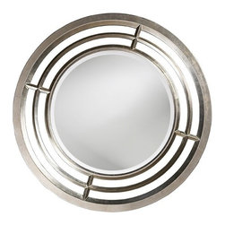 Howard Elliott - Howard Elliott 60114 Colby Bright Silver LeafMirror w/ Gold Accents - Bright Silver LeafMirror w/ Gold Accents belongs to Colby Collection by Howard Elliott Our Colby Mirror features a round frame with open insets. It is finished in a bright silver leaf. Mirror (1)