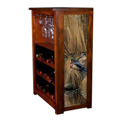 Kelseys Collection - Wine Cabinet 15 bottle Sitting Pretty - Wine Cabinet stores fifteen wine bottles and glassware with licensed artwork by Rosemary Millette giclee-printed on canvas side panels  The frame, top, and racks are solid New Zealand radiata pine with a hand stained and hand rubbed medium reddish brown finish, which is then protected with a lacquer coat and top coat. The art is giclee printed on canvas with three coats of UV inhibitor to protect against sunlight, extending the life of the art. The canvas is then glued onto panels and inserted into the frames.