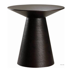 Nuevo Living - Anika Side Table, Ebony Oak - They say a side dish should never trump the main course, but this contemporary side table can't help but dish up plenty of style and a zesty shape. The flared, ribbed base contrasts with the oh-so-smooth top, ready to hold a decorative lamp, flower-filled vase or both. Add delightful detail to your living room with this side table or make it an entryway centerpiece.