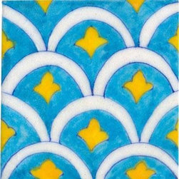 "Knobco - Tiles 4x4"", white and yellow pattern on turquoise - Nice white and yellow pattern on turquoise tile from Jaipur, India. Unique, hand painted tiles for your kitchen or other tiling project. Tile is 4x4"" in size."
