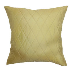 The Pillow Collection - Una Quilted Pillow Gold - Sophisticated and elegant, this soft gold throw pillow brings life to your home. This accent pillow features a quilted pattern and a slight sheen. Prop this beautiful decor pillow on top of your sofa, bed or sectionals for added comfort and style. This square pillow is made from 100% silk fabric. This decor pillow is perfect for many decor styles and settings. Hidden zipper closure for easy cover removal.  Knife edge finish on all four sides.  Reversible pillow with the same fabric on the back side.  Spot cleaning suggested.