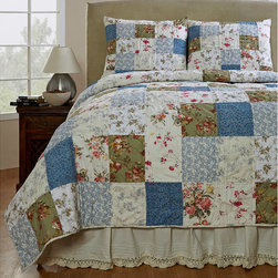 Cottage Home - Campanille Handmade Patchwork 3-piece Quilt Set - Lend your bedroom nostalgic charm with this handmade patchwork quilt set. This set comes with a quilt and two shams, and features 100 percent cotton construction for softness. Use this quilt in any room where you want to create a country vibe.