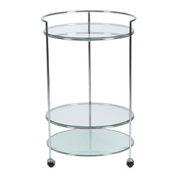 Eurostyle - Roberta Side Table-Chr - Three is the magic number when it comes to this elegant side table. It features a trio of circular shelves, as well as three casters that allow you to move the system around a room, or from room to room — especially handy when entertaining.
