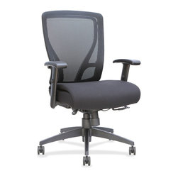 Lorell - Lorell Fabric Seat Mesh Mid-back Chair - Fabric Black Seat - Black Back - Mid-back chair features a sophisticated cable control mechanism to control the many chair comfort functions. Synchro tilt offers five locking positions. Seat-glide mechanism allows the seat cushion to travel forward and back and then lock into position. Other functions include pneumatic seat-height adjustment, seat-depth adjustment, 360-degree swivel, tilt tension and tilt lock. Arms adjust in height from 18-1/4 x 21-7/8 and are padded with polyurethane. Back is covered in mesh for flexible and breathable reclining while the thickly cushioned seat is upholstered in fabric. 27-1/6 diameter spider nylon base is equipped with 60mm casters for easy chair movement. Weight capacity is 250 lb. Seat measures 20 wide x 17-3/8 deep. Back dimensions are 18-7/8 wide x 22-5/6 high.