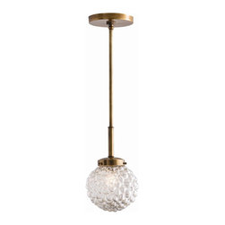 "Arteriors - Giuliana Pendant - This pendant features an organically bubbled cased glass globe and antique brass metal accents.  Small and medium fixtures take 1 - 25 w bulb.  Large fixture takes 1 - 40 w bulb.  Includes (1) 6"" and (2) 12"" rods.  Cord: 120"""