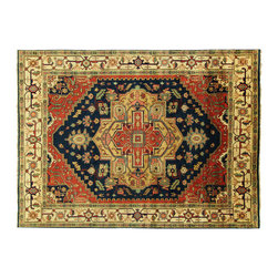 Manhattan Rugs - New Navy Ivory 9'x12' Antiqued Hand Knotted Wool Oriental Heriz Serapi Rug H3252 - This is a true hand knotted oriental rug. it is not hand tufted with backing, not hooked or machine made. our entire inventory is made of hand knotted rugs. (all we do is hand knotted)
