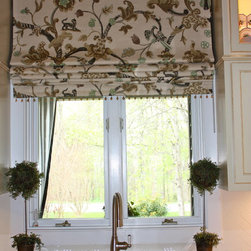 Hanging In Style Designs - Roman Shade featuring Shumacher fabric and beading.