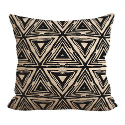 """Fiber and Water - Aztec Pillow - No Pillow Insert. Cover Only - A unique Aztec patterned pillow. Add a little funkiness to your sofa. Hand-pressed onto natural burlap using water-based inks. Dimensions: 19""""x19"""". Front: 100% Sultana Burlap w/ Hand-Pressed Print in Black. Back: 100% Natural Duck Cloth Canvas. French Seams & Surged Edges. Aluminum Hidden Zipper. Spot-Clean Only. As always, Made in Maine."""