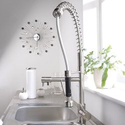 Brushed Nickel Plated Spring Kitchen Faucet with Swivel Spout and Pull Down Spra - Hudson Reed