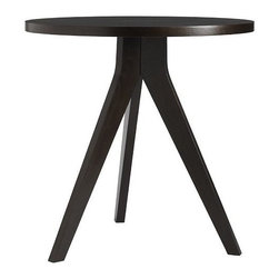 Tripod Table - This tripod table would make a great cafe table in a kitchen (it fits three chairs) or a side table in a family room for a sofa with high arms. Modern but could mix well.
