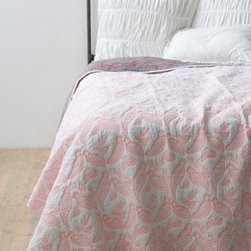 Aviary Coverlet, Coral - This is a beautiful reversible coverlet for a girl's room. I love the colors and the delicate bird pattern.