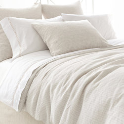 Pine Cone Hill - PCH Parchment Linen Duvet Cover - The Parchment ivory duvet cover updates a classic hunt-club pattern with a modern makeover in lightweight, neutral linen. Create a well-dressed bed with this soft and simple accent from PCH. Available in twin, full/queen and king sizes; 100% linen; Knife edge; Button closure; Insert not included; Designed by Pine Cone Hill, an Annie Selke company; Machine wash cold, tumble dry low; Do not bleach