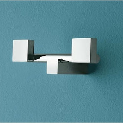 Toscanaluce - Polished Chrome Twin Robe Hook - Stylish, contemporary design chrome square twin robe hook. Double towel hook is made out of brass with a polished chrome finish. Square chrome twin hook easily mounts to the bathroom wall with screws. Made in Italy by Toscanaluce. Stylish, contemporary style chrome square double robe hook. Twin bath hook made out of brass with a polished chrome finish. Square double shower hook easily mounts to the bathroom wall with screws. From the Toscanaluce Eden Collection.