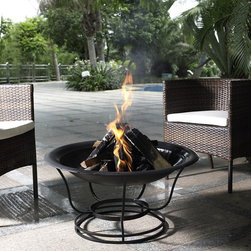 Crosley Furniture - Buckner Fire Pit - All steel construction. Steel poker to keep your fire stoked. Steel mesh cover to keep your fire contained. Easy to assemble. 21.5 in. L x 29.5 in. W x 29.5 in. H ( 13.5 lbs.)Simple and sleek, this steel framed fire pit is sure to be the conversation piece of any backyard bash! Enjoy burning multiple pieces of wood with sturdy high temperature steel. Become enchanted as you watch the sights and sounds of real fire.