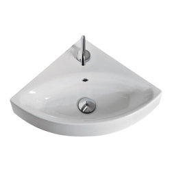 "WS Bath Collections - Cento 3541 Wall Hung or Counter Top Corner Sink 17.7"" x 17.7"" - Cento by WS Bath Collections Bathroom Sink, Designed by Marc Sadler of Italy, counter top or wall mount installation, in ceramic white"