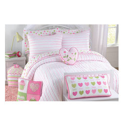None - Pink Heart 3-piece Quilt Set - Use this pretty pink and white three-piece quilt set to create a feminine feel in your bedroom or guest room. Featuring a diamond design on one side and a gingham check print on the other, the cotton comforter comes with one or two pillow shams.