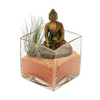 """luludi living frames - Luludi Living Frames Buddha Umber - Peace comes from within. Do not seek it without. """" buddha, our buddha terrariums are unique living frames thatwill help balance your mind with peaceful thoughts and inspire you on a meditation path to enlightenment. Place them in central areas of your home or office for daily inspiration to achieve peace and good life. , also available in the following buddha colors:, black, cobalt, sienna, umber (shown with peach sand, pebbles and air plant), available as shown or may be custom-tailored:, contact us for alternate sand color and pebble combinations available, dimensions: 4"""" height x 4"""" width x 4"""" length, weight (approx): 3 lbs, buddha statues made of resin, buddha meditation poses may vary, our terrariums are unique landscapes so finished pieces may vary, Suggestion for care:, no direct sun required, moss requires no care if it becomes dry and brittle mist with water, mist once per week remove air plant first, mist and allow to dry before replacing in terrarium, upon receipt soak air plant in bowl of water for 30 minutes, allow to dry then place plant in terrarium"""