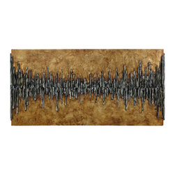 Uttermost - Uttermost Dimensional City View Wall Art - Dimensional City View Wall Art by Uttermost The Wooden Backboard Has A Golden Metallic Finish With Strips Of Wood Applied Creating A 3-dimensional Design. The Strips Are Painted Black With Gray And White Accents. Due To The Handcrafted Nature Of This Artwork, Each Piece May Have Subtle Differences.