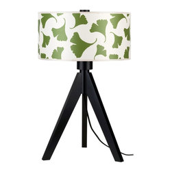 """Lights Up - Asian Lights Up! Woody 28"""" High Green Ginko Leaf Shade Table Lamp - This bold and chic modern table lamp is from Lights Up! and designer Rachel Simon. The tripod base is sustainably harvested wood in a black wood finish. Water-based inks adorn the shade a 100% recycled P.E.T. fabric made from plastic bottles. The lively green ginko leaf pattern stands out beautifully against the dark legs. Designed and manufactured in Brooklyn New York. Green ginko leaf 100% recycled P.E.T fabric shade. Sustainably harvested wood legs in wood black finish. Takes one 100 watt bulb (not included). 3-way switch. 28"""" high. Shade is 18"""" wide and 9"""" high.  Eco-friendly contemporary table lamp.  Green ginkgo leaf 100% recycled PET fabric shade.  Sustainably harvested wood legs in wood black finish.  Shade made in Brooklyn New York.  Takes one 100 watt bulb (not included).  3-way switch.  28"""" high.  Shade is 18"""" wide and 9"""" high."""