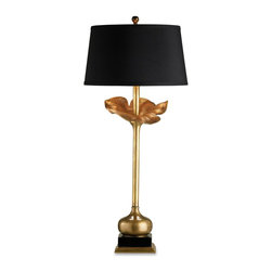 Currey & Company - Currey & Company Metamorphosis Table Lamp CC-6240 - This lamp defines elegant simplicity. The lamp looks like a work of art and the soft antique patina on metal adds to the appeal. The cast Ginkgo leaf motif makes the lamp fluid and organic. The black fabric shade has gold lining.