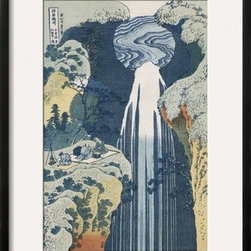 Artcom - Amida Waterfall on the Kiso Highway by Katsushika Hokusai Artwork - Amida Waterfall on the Kiso Highway by Katsushika Hokusai is a Framed Giclee Print set with a CHELSEA Black wood frame and a Crisp - Bright White mat.