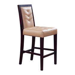Global Furniture - Global Furniture USA 800-BS Vinyl Bar Stool in Wedge and Tan - This tan bar stool will provide comfort and style. Complete with padded seat and back, dark brown wood legs with a conveniently placed footrest for comfort and tufted details making this a must have for your living space.