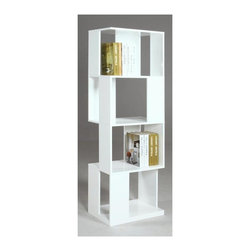 Chintaly - Selina Bookcase in Gloss White Finish - Contemporary style. Open back. Made from wood. No assembly required. 23.43 in. W x 15.55 in. D x 64.57 in. H