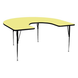 "Flash Furniture - 60''W x 66''L Horseshoe Activity Table with Yellow Top and Adjustable Legs - Flash Furniture's XU-A6066-HRSE-YEL-T-A-GG warp resistant thermal fused laminate horseshoe activity table features a 1.125"" top and a thermal fused laminate work surface. This Horseshoe Shaped Laminate activity table provides a durable work surface that is versatile enough for everything from computers to projects or group lessons. Sturdy steel legs adjust from 21.125"" - 30.125"" high and have a brilliant chrome finish. The 1.125"" thick particle board top also incorporates a protective underside backing sheet to prevent moisture absorption and warping. T-mold edge banding provides a durable and attractive edging enhancement that is certain to withstand the rigors of any classroom environment. Glides prevent wobbling and will keep your work surface level. This model is featured in a beautiful Yellow finish that will enhance the beauty of any school setting.; Horseshoe Shaped Activity Table; Scratch and Stain Resistant Surface; 1.125"" Thick Thermal Fused Yellow Laminate Top; Black Edge Band; Black Edge Band; 16 Gauge Tubular Steel Legs; Black Powder Coated Upper Legs and Chrome Lower Legs; Legs Adjust in 1"" Increments; Self-Leveling Nylon Floor Glides; Recommended Grade Level: 1st Grade - Adult; Recommended Seating Capacity: 7 Adults; 8 Children; 2 Year Limited Warranty; View All Finishes; Weight: 110 lbs; Overall Dimensions: 60""W x 66""D x 21.125"" - 30.125""H"