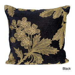 Cloud9 Design - 'Ava' 20-inch Square Polysilk Embroidered Decorative Pillow - The modern design of this polysilk floral pillow will add a beautiful touch to any couch or bed. Ruching on the edges finishes this two-tone throw pillow.