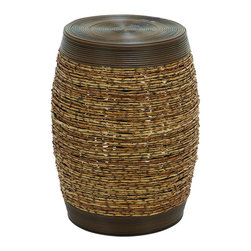 Benzara - Bamboo Weave Stool In Unique Barrel Shape - A unique and attractive stool woven into a sturdy bamboo shoot style pattern. This beautifully made stool is made into a solid barrel shape with strong polyethylene material, that's smooth to the touch. Create a unique seating environment for the kids at the crafts table. Or use them for their durability as extra seating in the back patio.