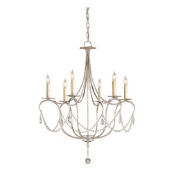 Currey & Co - Currey & Co 9890 Crystal Lights Silver Leaf 6 Light Chandelier - 6 Bulbs, Bulb Type: 60 Watt Candelabra; Weight: 11lbs