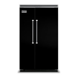 """Viking 48"""" Built-in Side By Side Refrigerator, Black 