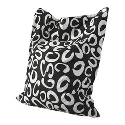 Powell - Powell 199-B012 Bean Bag in Black and White - The bean bag is a fun, colorful and practical alternative to the original bean bags. The simple design is cool on the eyes and has a contouring ability making it super comfortable. The bean bag is a multi-functional piece that can be used as a chair, recliner, pillow or even as a bed for guests. Its a creative seating solution for your bedroom, family room, basement, office, game room or dorm room. Available in a variety of colors, patterns and fabrics, you can match your bean bag to your decor or choose one to become the focal point in your room. A large grommet allows you to easily toss the bag around or hang it on the wall for out of the way storage. No worries about the bag's future, as our bean bags have durable zippers and are crafted from canvas, blended denim or heavy duty polyester.