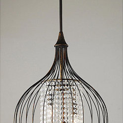 Copper/Crystal Pendant Chandelier