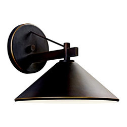 KICHLER - KICHLER 49061OZ Ripley Lodge/Country/Rustic/Garden Outdoor Wall Sconce - Bringing clean lines to a rustic look, the Ripley collection of outdoor lighting features an Olde Bronze finish that warms the smooth cone shape of this 1 light outdoor sconce. Uses (1) - 40W max (type R) or (1) - 60W (G type) bulb. UL listed for wet locations. Dark sky compliant with use of R14 40W bulb.